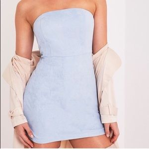 NEW WITH TAGS Faux suede light blue mini dress!